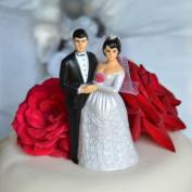 Bride and Groom Cake Topper - Medium Complexion w/ Dark Hair & Veil