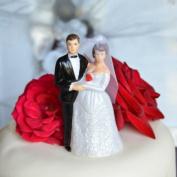 Bride and Groom Cake Topper - Medium Complexion w/ Medium Hair & Veil