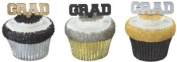 GRADUATION (12) GRAD Silver Gold Black Cupcake Cake Topper Decors Pop Pics Pick