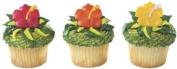HIBISCUS Tropical (12) LUAU Hawaiian PARTY Cupcake Cake Topper Decoration RINGS