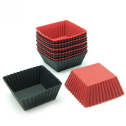 Freshware CB-306 12-Pack Square Silicone Reusable Baking Cup