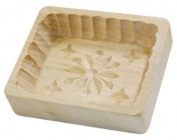 Wooden Butter Mould - Rectangle w/Star Top & Scalloped Edges