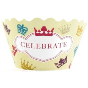 Bella Cupcake Couture Victoria Celebrate and Crowns Cupcake Wrapper, Set of 12