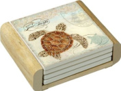 CounterArt Sea Turtle Design Absorbent Coasters in Wooden Holder, Set of 4