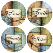 Faith Hope Love Family Assorted Drink Coaster Set