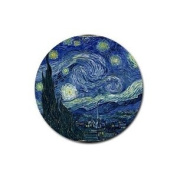 Van Gogh Starry Night Round Rubber Coaster set 4 pack Great Gift Idea