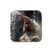 Elephant happy Rubber Square Coaster set (4 pack) Great Gift Idea
