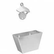 Stainless Steel Wall Mounted Bottle Opener and Cap Catcher Set