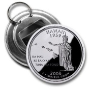 HAWAII State Quarter Mint Image 5.7cm Button Style Bottle Opener