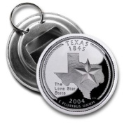 TEXAS State Quarter Mint Image 5.7cm Button Style Bottle Opener