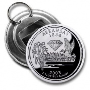 ARKANSAS State Quarter Mint Image 5.7cm Button Style Bottle Opener