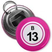 BINGO BALL B13 THIRTEEN PINK 5.7cm Button Style Bottle Opener with Key Ring