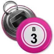 BINGO BALL B3 THREE PINK 5.7cm Button Style Bottle Opener with Key Ring