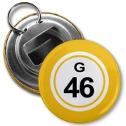 BINGO BALL G46 FORTY-SIX YELLOW 5.7cm Button Style Bottle Opener with Key Ring