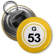 BINGO BALL G53 FIFTY-THREE YELLOW 5.7cm Button Style Bottle Opener with Key Ring