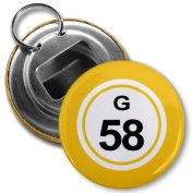 BINGO BALL G58 FIFTY-EIGHT YELLOW 5.7cm Button Style Bottle Opener with Key Ring