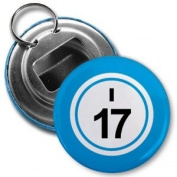 BINGO BALL I17 SEVENTEEN BLUE 5.7cm Button Style Bottle Opener with Key Ring