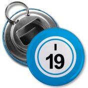 BINGO BALL I19 NINETEEN BLUE 5.7cm Button Style Bottle Opener with Key Ring