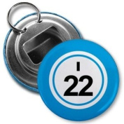 BINGO BALL I22 TWENTY-TWO BLUE 5.7cm Button Style Bottle Opener with Key Ring