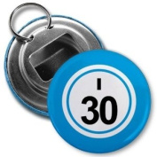 BINGO BALL I30 THIRTY BLUE 5.7cm Button Style Bottle Opener with Key Ring