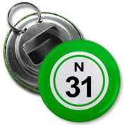 BINGO BALL N31 THIRTY-ONE GREEN 5.7cm Button Style Bottle Opener with Key Ring