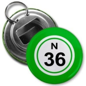 BINGO BALL N36 THIRTY-SIX GREEN 5.7cm Button Style Bottle Opener with Key Ring