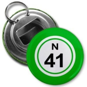 BINGO BALL N41 FORTY-ONE GREEN 5.7cm Button Style Bottle Opener with Key Ring