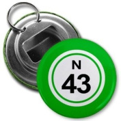 BINGO BALL N43 FORTY-THREE GREEN 5.7cm Button Style Bottle Opener with Key Ring