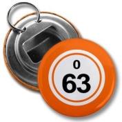 BINGO BALL O63 SIXTY-THREE ORANGE 5.7cm Button Style Bottle Opener with Key Ring