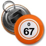 BINGO BALL O67 SIXTY-SEVEN ORANGE 5.7cm Button Style Bottle Opener with Key Ring