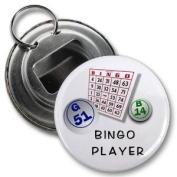BINGO CARD PLAYER 5.7cm Button Style Bottle Opener