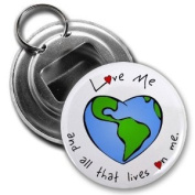 Celebrate EARTH DAY with LOVE 5.7cm Button Style Bottle Opener with Key Ring