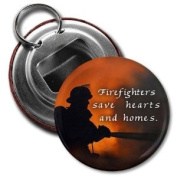 FIREFIGHTERS SAVE HEARTS HOMES Heroes 5.7cm Button Style Bottle Opener with Key Ring