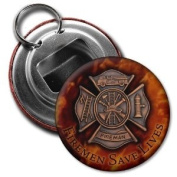 FIREMEN SAVE LIVES Fire and Rescue Heroes 5.7cm Button Style Bottle Opener with Key Ring