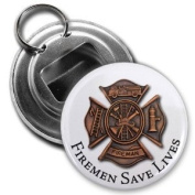 FIREMEN SAVE LIVES SHIELD Heroes 5.7cm Button Style Bottle Opener with Key Ring