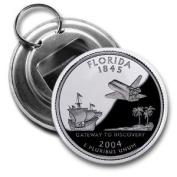 FLORIDA State Quarter Mint Image 5.7cm Button Style Bottle Opener