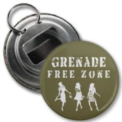 Grenade Free Zone - Jersey Shore Slang Fan 5.7cm Button Style Bottle Opener with Key Ring