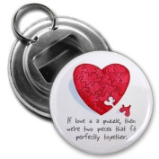 HEART PUZZLE PIECES Valentine's Day 5.7cm Button Style Bottle Opener
