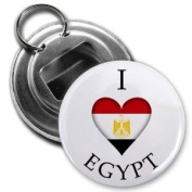 I HEART EGYPT World Country Flag 5.7cm Button Style Bottle Opener with Key Ring