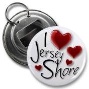 I HEART Jersey Shore Fan 5.7cm Button Style Bottle Opener with Key Ring