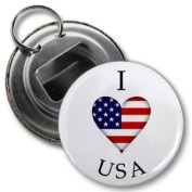 I HEART USA AMERICA World Flag 5.7cm Button Style Bottle Opener with Key Ring
