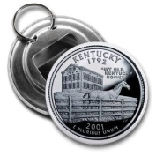 KENTUCKY State Quarter Mint Image 5.7cm Button Style Bottle Opener