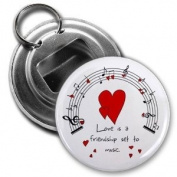 LOVE MUSIC Valentine's Day 5.7cm Button Style Bottle Opener
