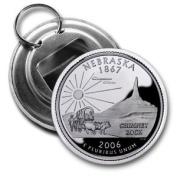 NEBRASKA State Quarter Mint Image 5.7cm Button Style Bottle Opener