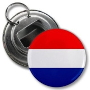 NETHERLANDS World Flag 5.7cm Button Style Bottle Opener with Key Ring