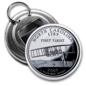 NORTH CAROLINA State Quarter Mint Image 5.7cm Button Style Bottle Opener