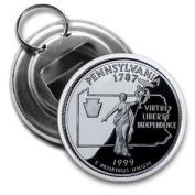 PENNSYLVANIA State Quarter Mint Image 5.7cm Button Style Bottle Opener