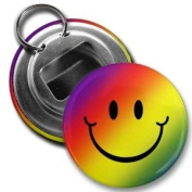 Rainbow SMILEY FACE Funny 5.7cm Button Style Bottle Opener with Key Ring