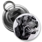 Rottweiler DOG Pencil Sketch Art 5.7cm Button Style Bottle Opener with Key Ring