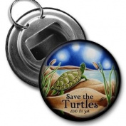 SAVE THE TURTLES Original Art bp Oil Spill Relief 5.7cm Button Style Bottle Opener